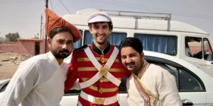 Tony Florida on Bollywood movie set as a British soldier