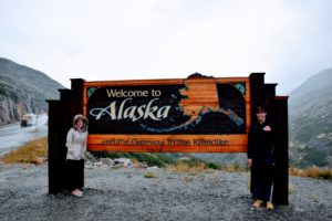 Welcome to Alaska sign outside of Skagway at the Yukon Territory border